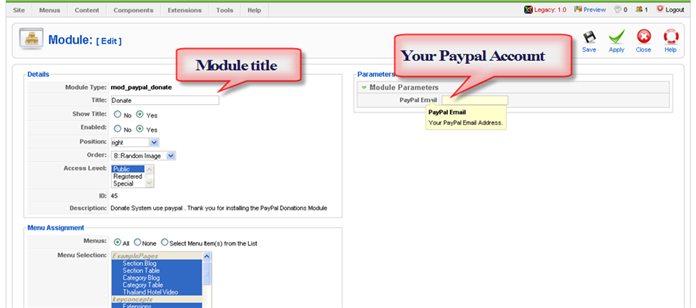Paypal Donations Module Config